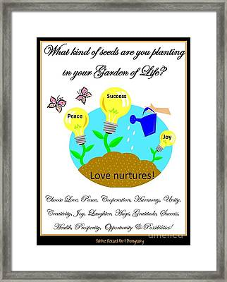 Garden Of Life Framed Print by Bobbee Rickard