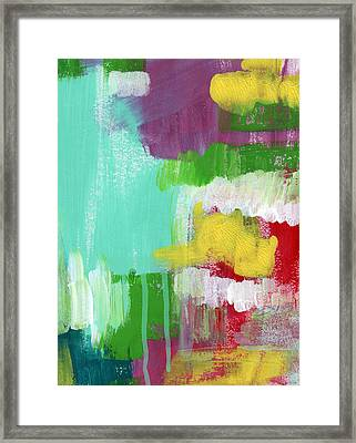 Garden Path- Abstract Expressionist Art Framed Print by Linda Woods