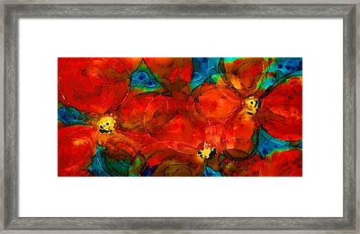 Garden Spirits - Vibrant Red Flowers By Sharon Cummings Framed Print by Sharon Cummings