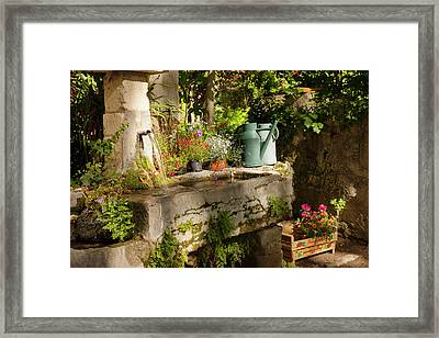 Garden Tub And Wash Basin At Chateau Framed Print by Brian Jannsen
