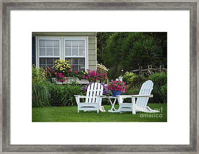 Garden With Lawn Chairs Framed Print by Elena Elisseeva