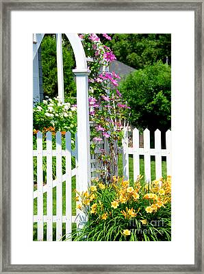Garden With Picket Fence Framed Print by Elena Elisseeva