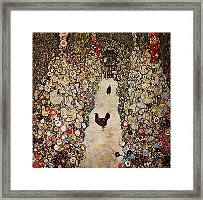 Garden With Roosters Framed Print by Celestial Images