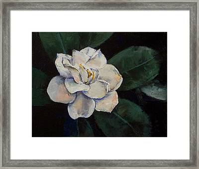 Gardenia Oil Painting Framed Print by Michael Creese