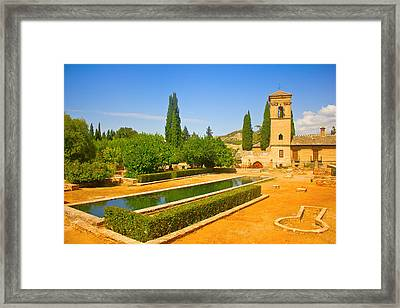 Gardens Of La Alhambra In Granada Framed Print by Dragomir Nikolov