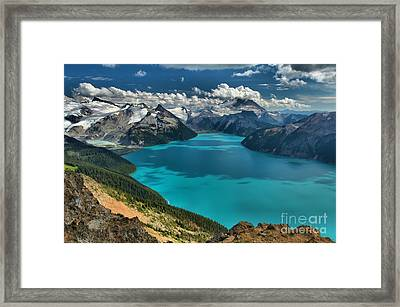 Garibaldi Lake Blues Greens And Mountains Framed Print by Adam Jewell