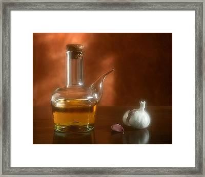 Garlic And Olive Oil. Framed Print by Juan Carlos Ferro Duque