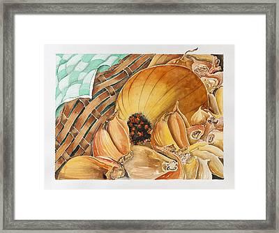 Garlic And Onion Framed Print by Semiramis Paterno