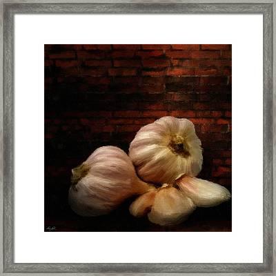 Garlic Framed Print by Lourry Legarde