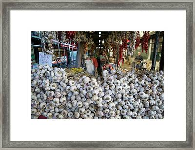 Garlic On Sale In Porto Street Market Framed Print by Sinclair Stammers