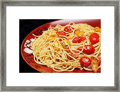 Garlic Pasta And Grape Tomatoes Framed Print by Andee Design