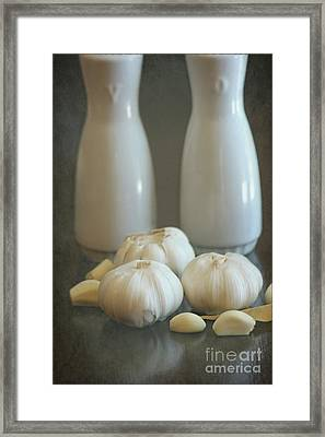 Garlic Vinegar And Oil Framed Print by Sophie Vigneault