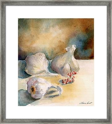 Garlic With Peppercorns Framed Print by Maria Hunt