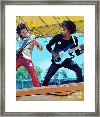 Gary Moore And Phil Lynott Of Thin Lizzy At Day On The Green 4th Of July 1979 - 1st Color Unreleased Framed Print by Daniel Larsen