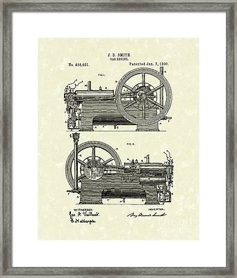 Gas Engine 1890 Patent Art Framed Print by Prior Art Design