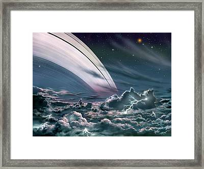 Gas Giant Planet's Rings Framed Print by David A. Hardy