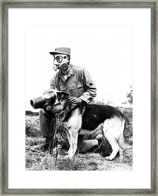 Gas Masks On Dog And Military Personal Framed Print by Retro Images Archive