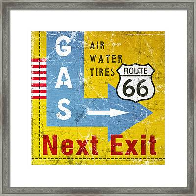 Gas Next Exit- Route 66 Framed Print by Linda Woods