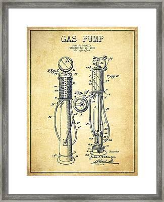 Gas Pump Patent Drawing From 1930 - Vintage Framed Print by Aged Pixel