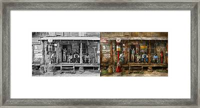Gas Station - Sunday Afternoon - 1939 - Side By Side Framed Print by Mike Savad