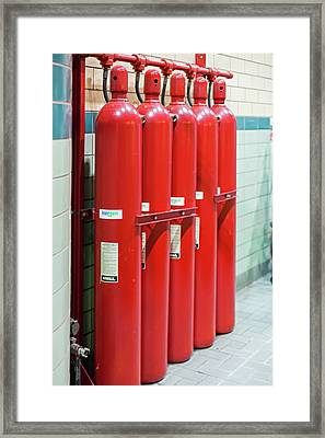 Gaseous Fire Suppression Cylinders Framed Print by Jim West