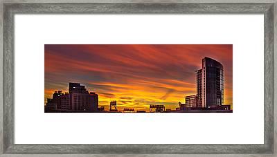 Gaslamp Sunrise Framed Print by Russ Harris