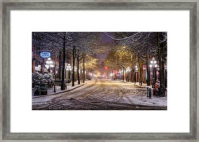Gastown Snow Framed Print by Alexis Birkill