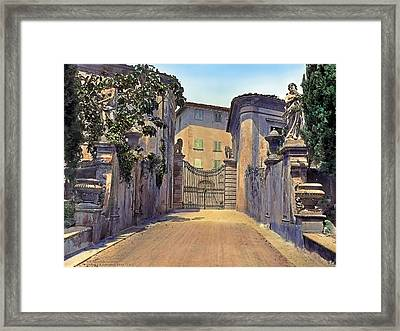 Gate And Lions Framed Print by Terry Reynoldson