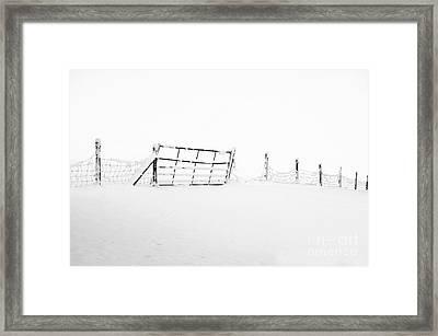 Gate In Snow Framed Print by Anne Gilbert
