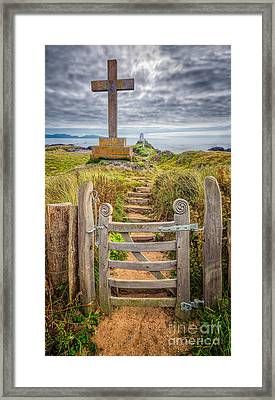 Gate To Holy Island  Framed Print by Adrian Evans