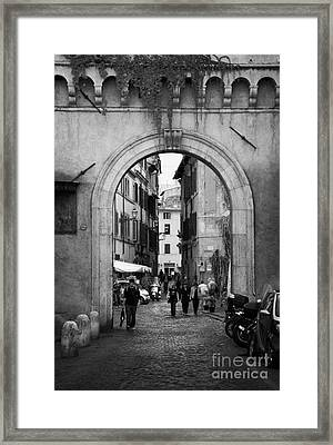 Gate Way Entrance To Trastavere Rome Lazio Italy Framed Print by Joe Fox