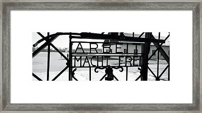 Gate With Inscription Arbeit Macht Framed Print by Panoramic Images