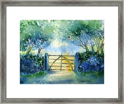Gateway To The Harvest Field  Framed Print by Trudi Doyle