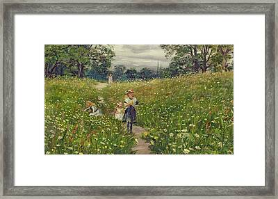 Gathering Wild Flowers  Framed Print by Philip Richard Morris