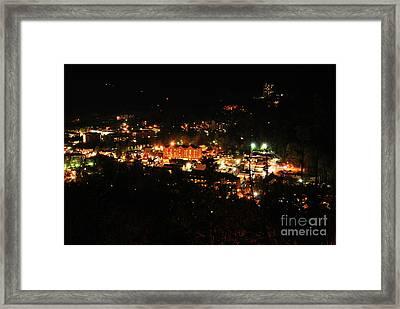 Gatlinburg At Night Framed Print by Nancy Mueller