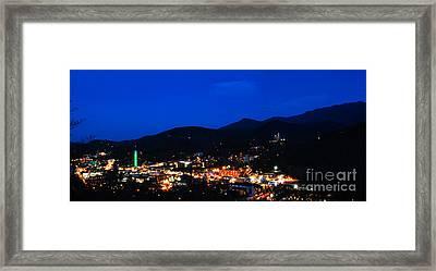 Gatlinburg Skyline At Night Framed Print by Nancy Mueller