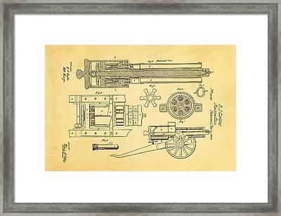 Gatling Machine Gun Patent Art 1862 Framed Print by Ian Monk