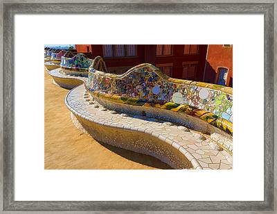 Gaudi's Park Guell Sinuous Curves - Impressions Of Barcelona Framed Print by Georgia Mizuleva
