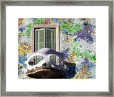 Gaudis Skull Balcony And Mosaic Walls Framed Print by Rene Triay Photography
