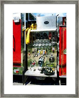 Gauges Hoses And A Helmet Framed Print by Susan Savad