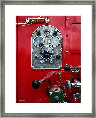 Gauges On Vintage Fire Truck Framed Print by Susan Savad
