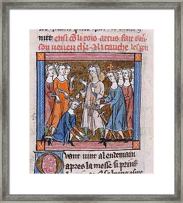 Gawain Made A Knight Framed Print by British Library