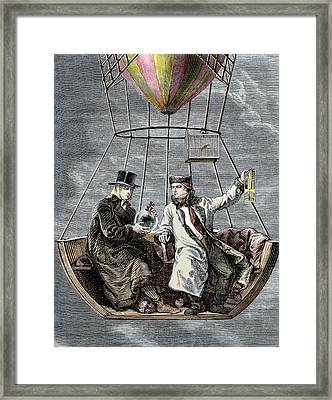Gay-lussac And Biot Balloon Ascent Framed Print by Sheila Terry
