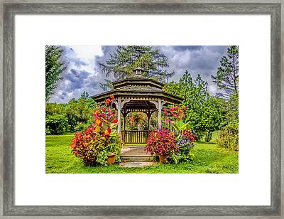 gazebo at Rutgers Gardens  Framed Print by Geraldine Scull