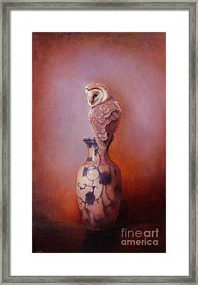 Gazing - Barn Owl Framed Print by Lori  McNee