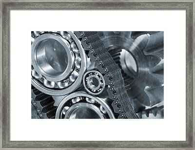 Gears And Cogs Titanium And Steel Power Framed Print by Christian Lagereek