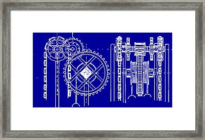 Gears Blueprint Framed Print by