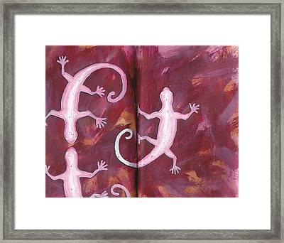 Geckos In Sketchbook Framed Print by Chad Brown