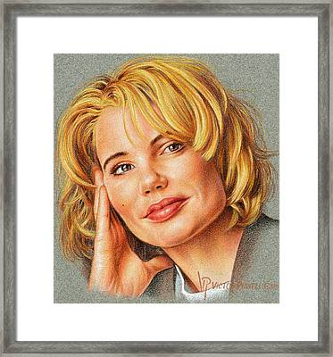 Geena Davis Portrait Framed Print by Victor Powell
