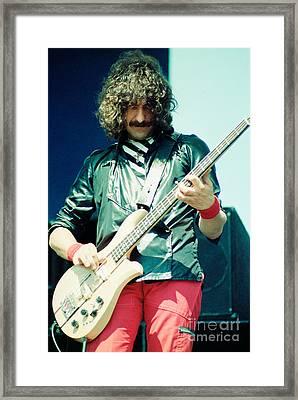 Geezer Butler Of Black Sabbath During 1980 Tour  Framed Print by Daniel Larsen